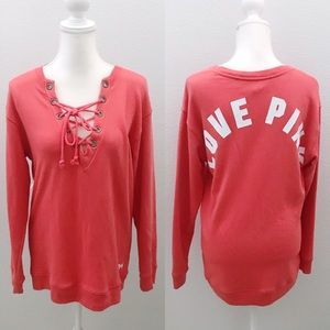 Victoria's Secret PINK coral lace up sweater tunic